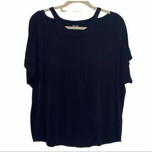 Nic+Zoe Black Modal Blouse With Cutouts XL T-Shirt